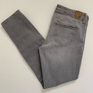 American Eagle Gray Super Skinny Stretch Jeans